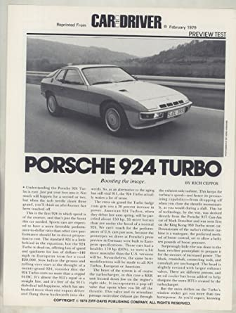 1979 Porsche 924 Turbo Road Test Brochure
