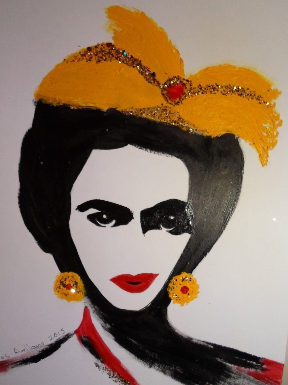 FRIDA KAHLO - Yellow BOW - Abstract - POP - MEXICAN FOLK ART Style :: ORIGINAL PAINTING - Acrylics and Ink - Modern Painting on Heavy White Paper - SIZE:11''x8.5'' - Signed by the Artist