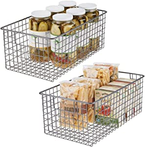mDesign Farmhouse Decor Metal Wire Food Organizer Storage Bin Basket with Handles for Kitchen Cabinets, Pantry, Bathroom, Laundry Room, Closets, Garage - 2 Pack - Graphite Gray