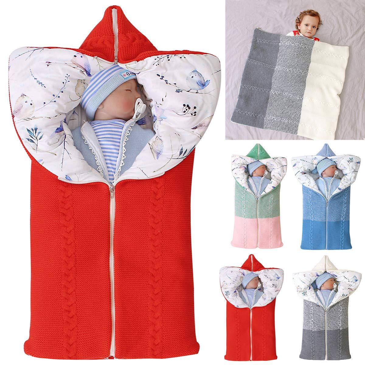 Owlike Newborn Baby Swaddle Knit Stroller Wrap Sleeping Bag,Toddler Thick Soft Warm Blanket Swaddle Sleeping Bag Grey, Medium