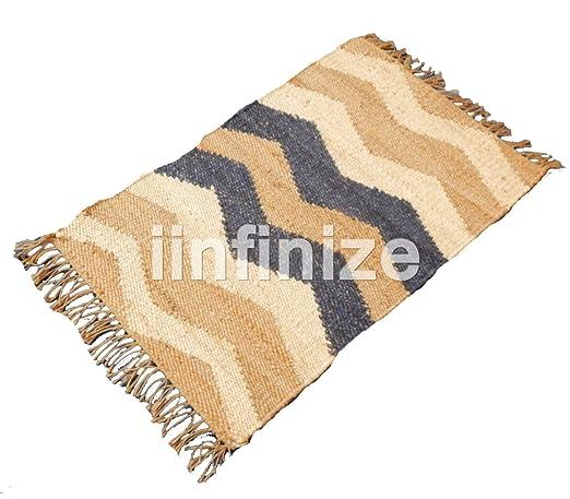 iinfinize – Alfombra de yute de algodón de 2 x 3 pies, forma rectangular, alfombra de suelo
