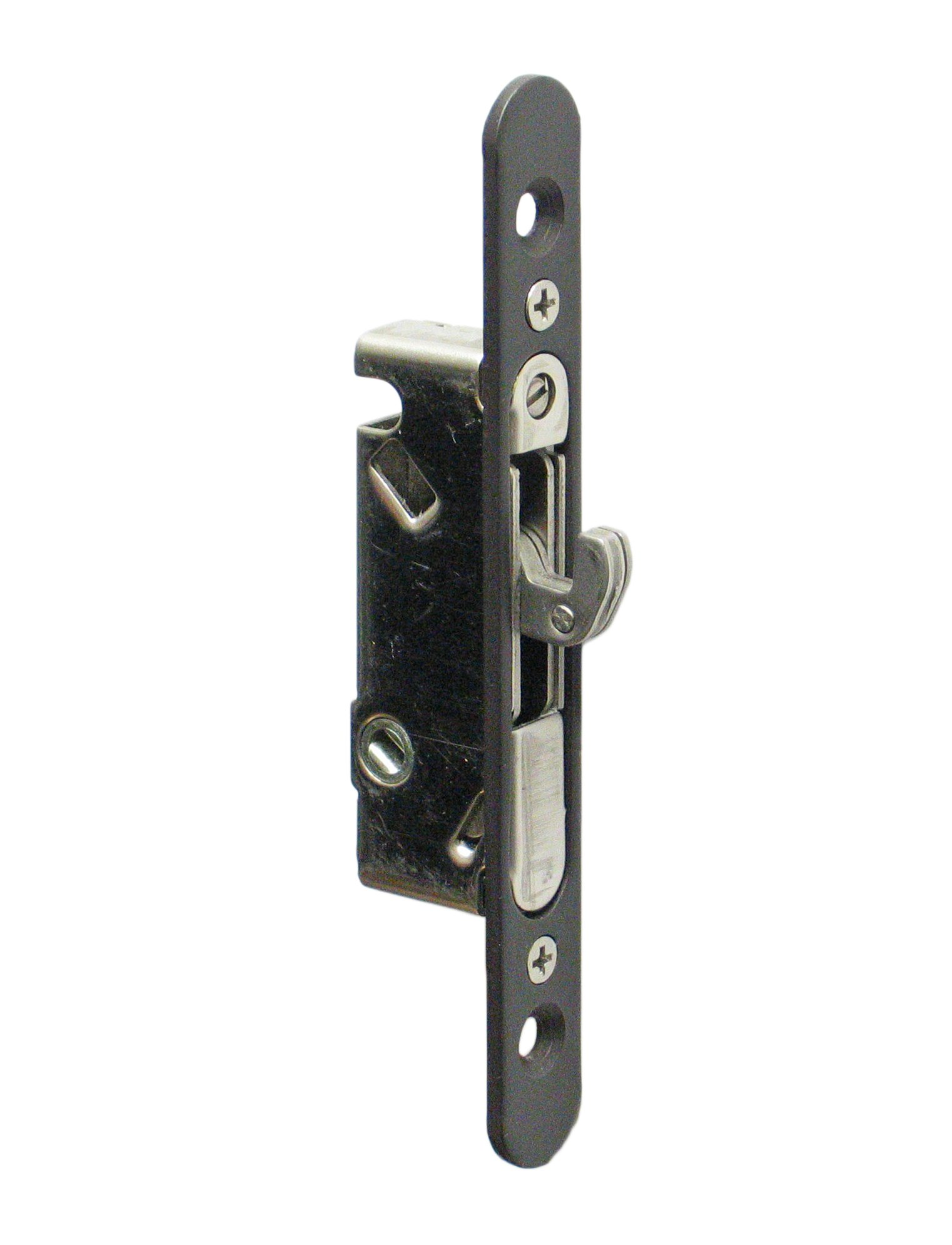 "FPL #3-45-SS Sliding Glass Door Replacement Mortise Lock with Adapter Plate, 4-5/8"" Screw Holes, 45 Degree Keyway, Stainless Steel- Oil Rubbed Bronze Finish"