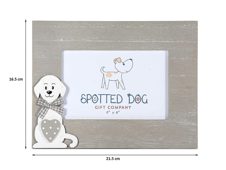 SPOTTED DOG GIFT COMPANY Marco de Fotos de Madera Horizontal 10 x 15 cm portafotos Color Gris Decorado con Perro, de pie o para Colgar en Pared, ...