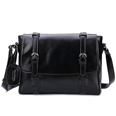 1e19f0731012 Amazon.com  Yafeige Small Vintage Satchel Leather Handbags Traveling Purse  Messenger Shoulder Crossbody Bag for Women(Black)  Yafeige