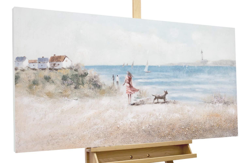 KunstLoft® Acryl Gemälde 'Gassi am Strand' 120x60cm | original handgemalte Leinwand Bilder XXL | Meer Landschaft Beige Blau | Wandbild Acrylbild Moderne Kunst einteilig mit Rahmen