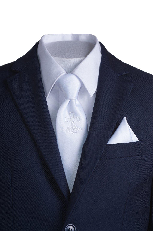 Boys Slim Fit Navy Suit, White Communion Cross Tie, Suspenders & Handkerchief (10 Boys) by Tuxgear (Image #2)
