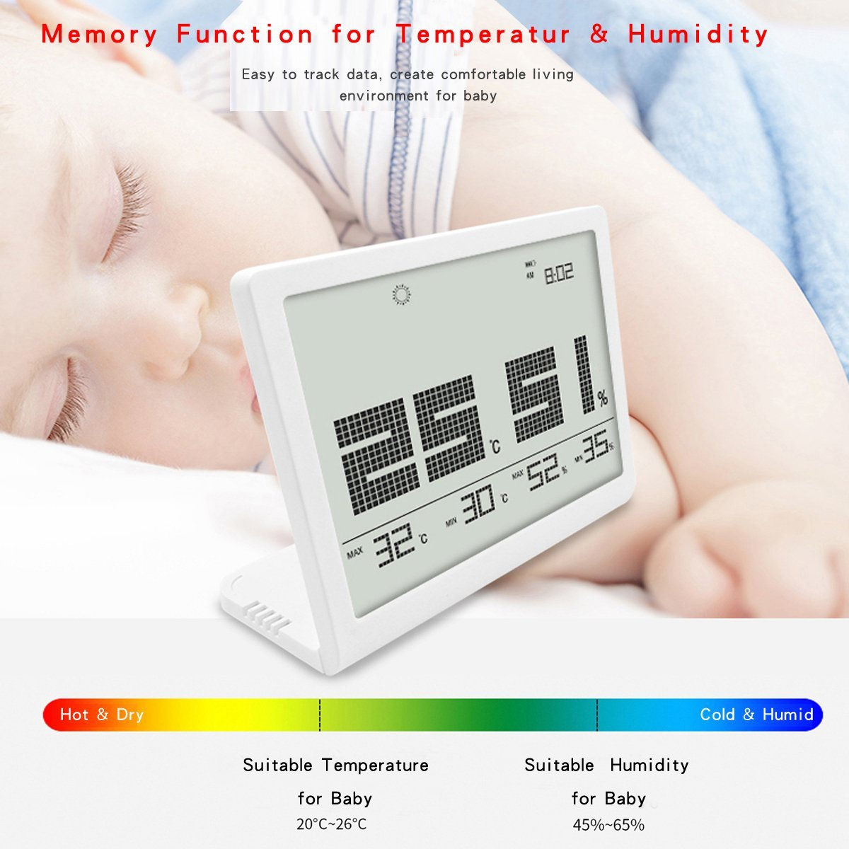 CENTRY HARVEST Digital-Hygrometer-Thermometer,Humidity Monitor with Indoor Thermometer, Digital Hygrometer and Humidity Gauge Indicator