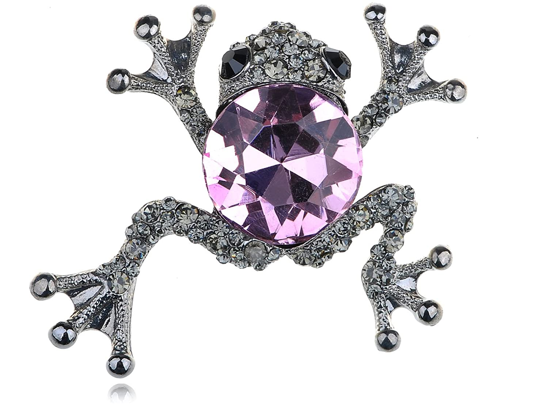 Alilang Rose Black Diamond Crystal Rhinestone Silvery Tone Leaping Frog Animal Pin Brooch