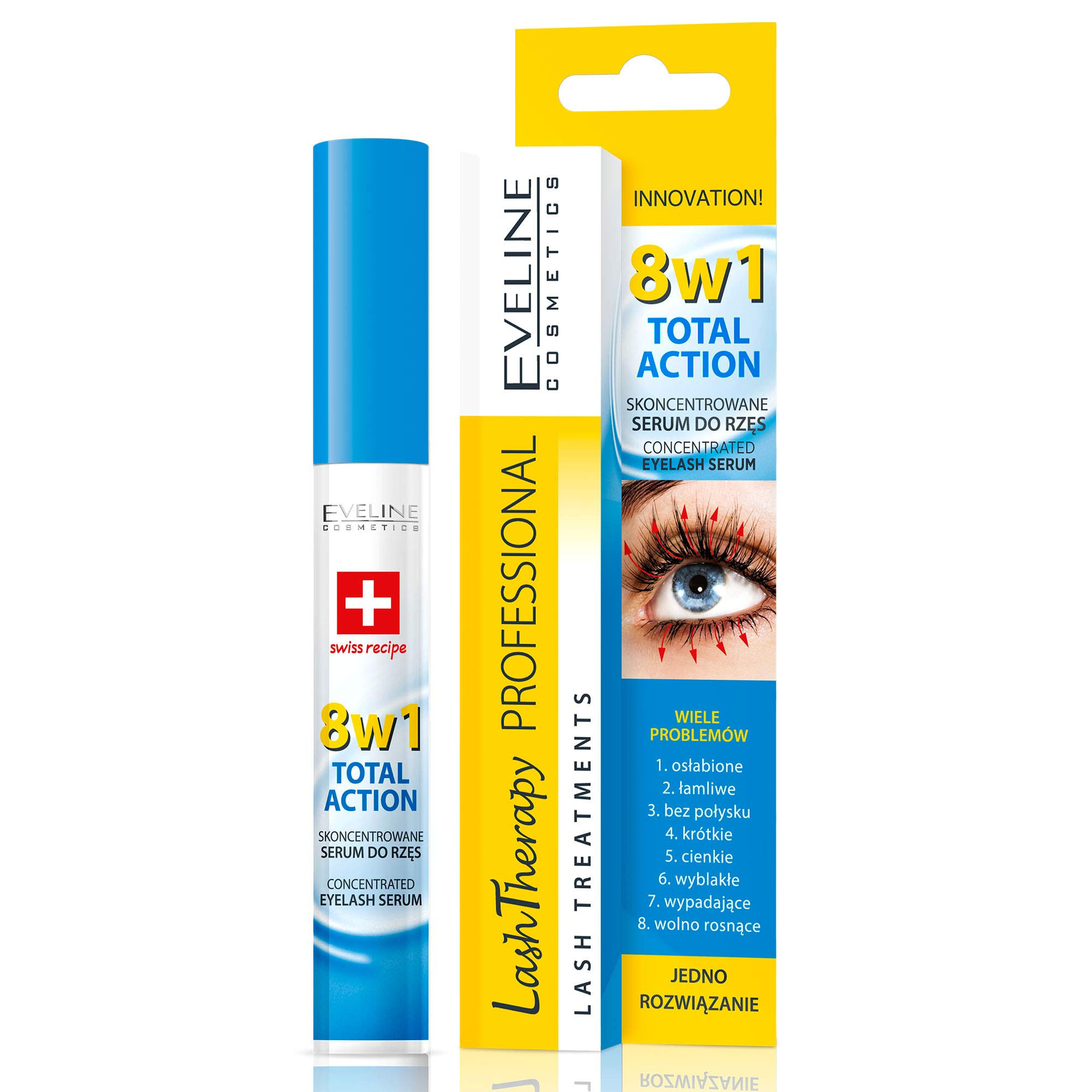 Eveline Cosmetics Eyelash Serum 8in1 | 10 ML | Lash Growth Activator | Strengthening and Thickening Conditioner | Argan Oil and Hyaluronic Acid