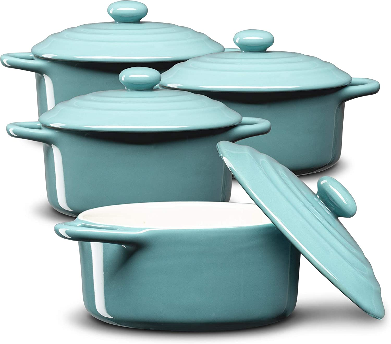 Mini Cocotte, Casserole Dish, Dutch Oven, Ceramic Make, Easy to Lift Lid, Set of 4, (Aqua)