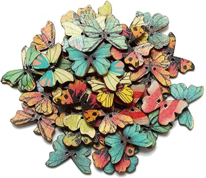 Multi colored wood butterfly shape button (100PC)