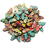 100PC DIY Wooden Buttons, a Variety of Animal Cartoon Characters, a Variety of Colors (can be Selected) (Color1)