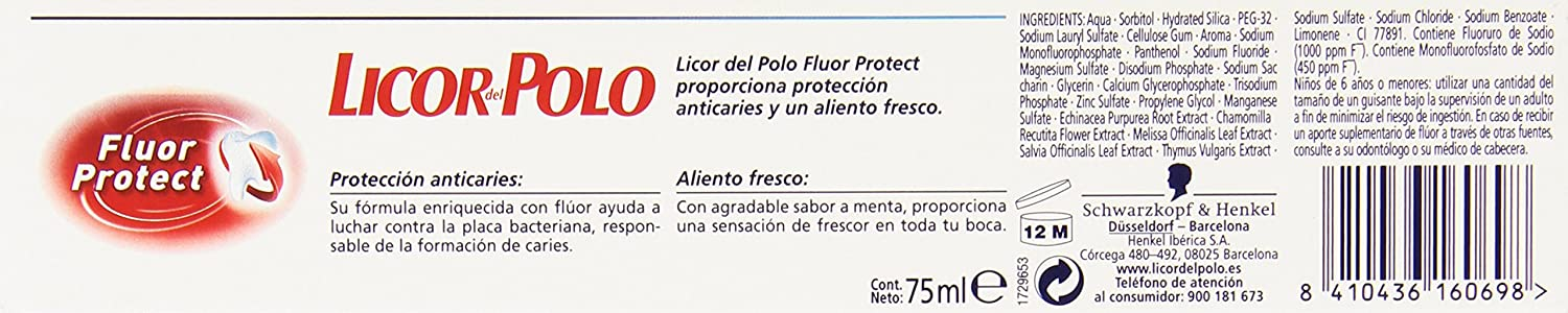 Licor del Polo Dentífrico con Flúor Activo - 75 ml: Amazon.es ...