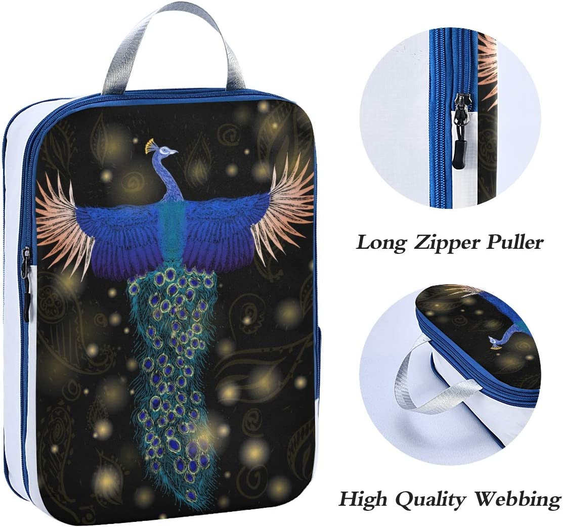 ATONO Colorful Flying Peacock On The Black Background Travel Packing Cubes Luggage Organizer Bags Storage 3 Pack Sets Toiletries Shoe Bag for Business Trip Holiday Kids/&Adults