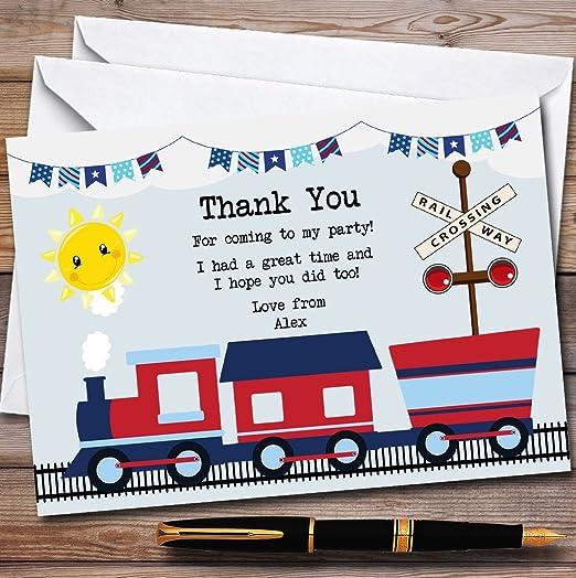 Azul y rojo tren fiesta tarjetas de agradecimiento, 40 ...