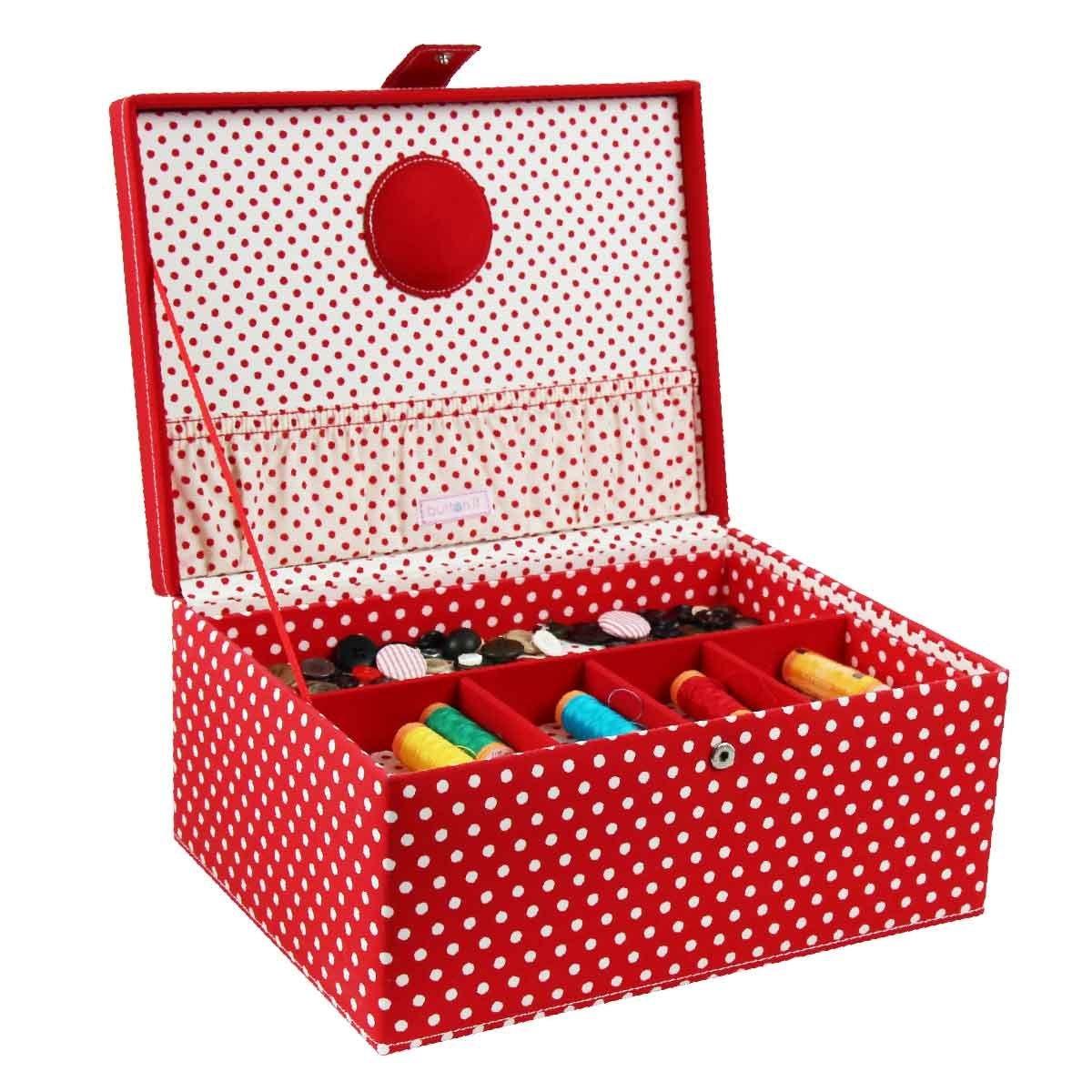 London Clock 82316série à couture avec motif à pois, poignée, compartiment Compartiment intérieur amovibles, plastique et aiguille Coussin intérieur, 31x 23x 14,5cm, rouge/blanc LC Designs