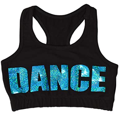 d410c77150f Stretch is Comfort Girl s Teamwear Cotton Dance Sequin Sports Bra Black and  Turquoise Small
