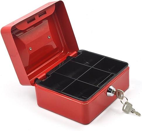 Gosear 6 Pulgadas Metal Almacenamiento Seguro Seguridad Caja Porta Maleta de Dinero en Moneda con Llave de Cerradura y Bandeja del 6 Compartimiento para Casa Oficina,Rojo: Amazon.es: Hogar
