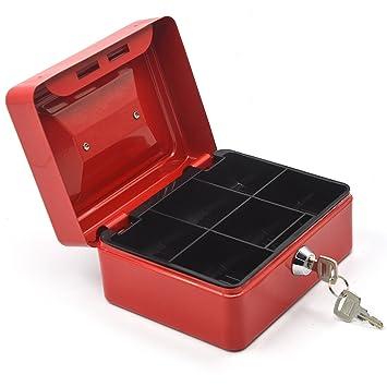 Gosear 6 Pulgadas Metal Almacenamiento Seguro Seguridad Caja Porta Maleta de Dinero en Moneda con Llave