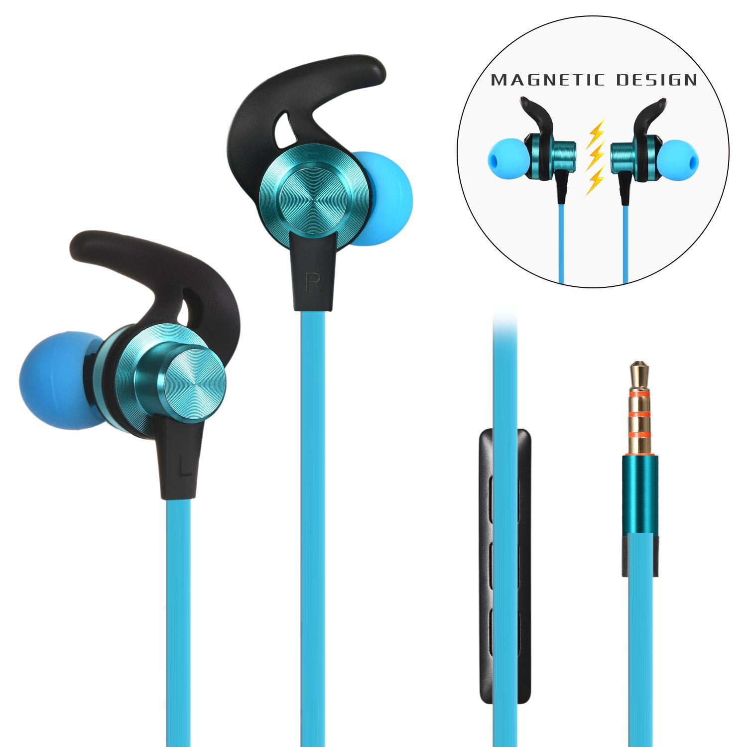 in-Ear Earphones, Wired Earbuds with Mic and Volume Control, Anlyso Magnetic Metal Stereo Bass Noise Cancelling Headphones Sports Sweatproof Headsets for Gym Running Workout Blue
