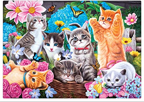 Cute Cat Crystal Rhinestone Embroidery Cross Stitch Arts Craft Canvas Wall Decor 30x40 cm DIY 5D Diamond Painting by Number Kit