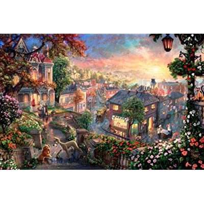 WYBFLF 1000 Piece Adult Jigsaw Puzzle Unique Gift -Wooden Puzzle Home Decor Art Educatio l Toy Gift -Lady and The Tramp in Their Colorful Town: Toys & Games
