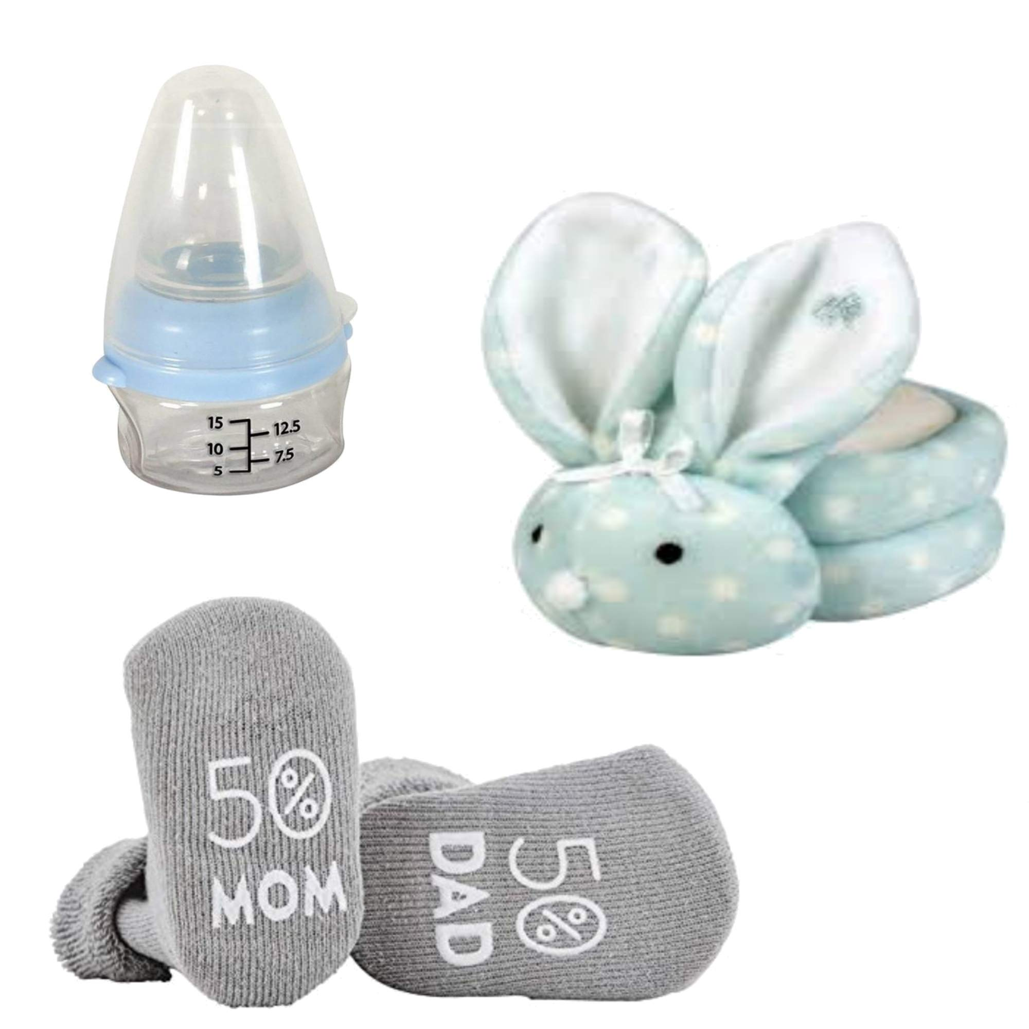 Stephan Baby Gift Set Includes 3 Items: Blue Mini Medicine Bottle, Pair of Non-Skid Silly Socks & Blue Dot Boo-Bunnie Comfort Toy by Stephan Baby