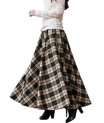 5e22e10f0662c Femirah Women s Muchroom Long Maxi Woolen A Line Skirt Autumn Winter Skirt  (Length 80cm