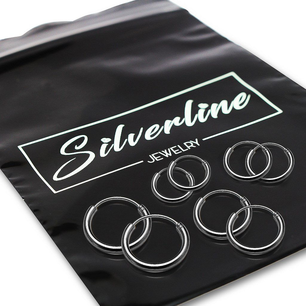 Set of Four Sterling Silver Small Endless 1.2mm x 10mm, 12mm, 14mm & 16mm Lightweight Thin Round Unisex Hoop Earrings Black Flashed Rhodium Finish by Silverline Jewelry (Image #3)