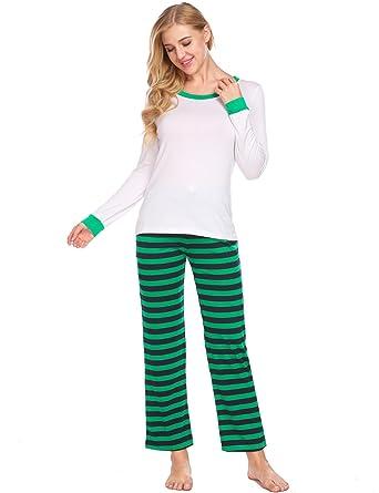 Langle Women Loose Sleepwear O-neck Thermal Underwear Pajamas Set Nightwear  (W Navy Blue f4c2ee3da
