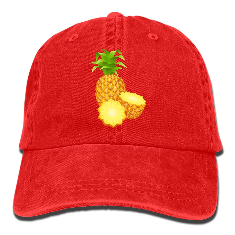SHUANGRENDE Unisex Pineapple Picture Unstructured Cotton Adjustable Hat Adult Dad Cap