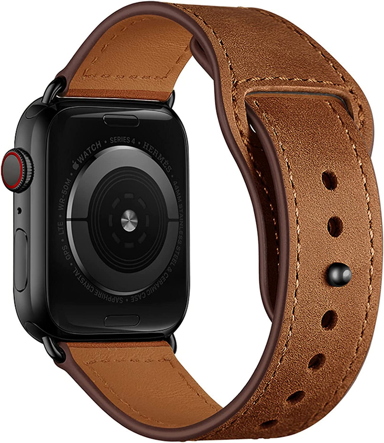 YALOCEA Leather Bands Compatible with Apple Watch Band 44mm 42mm 40mm 38mm, Top Grain Genuine Leather Strap Replacement for iWatch SE Series 6 5 4 3 2 1 (Retro Brown/Black, 44mm 42mm)
