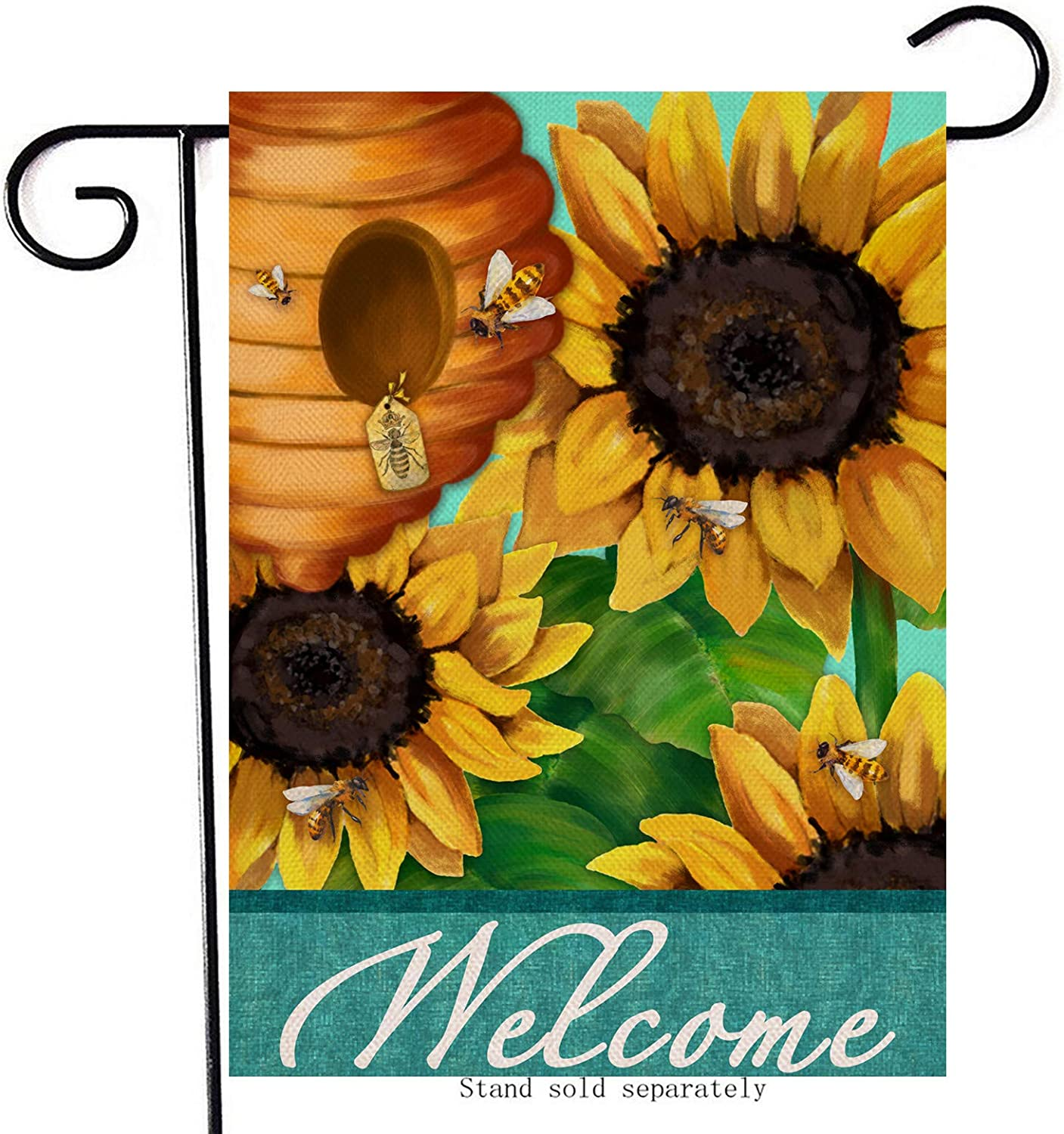 Artofy Welcome Summer Decorative Garden Flag, House Yard Watercolor Sunflower Honeycomb Decor Sign Bee Outdoor Small Burlap Flag Double Sided, Home Outside Spring Seasonal Farmhouse Decorations12x18