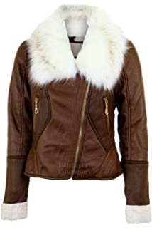 e605d38e5aad Damen Jacke langärmelig mit Fellkragen Wolle gefüttert Reißverschluss Leder  PVC Jacke
