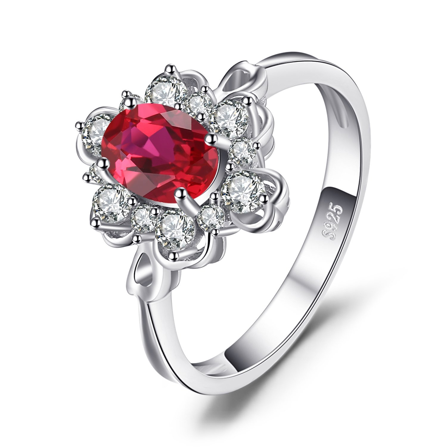 JewelryPalace Elegant 1ct Oval Created Red Ruby Engagement Anniversary Promise Ring 925 Sterling Silver Size 6