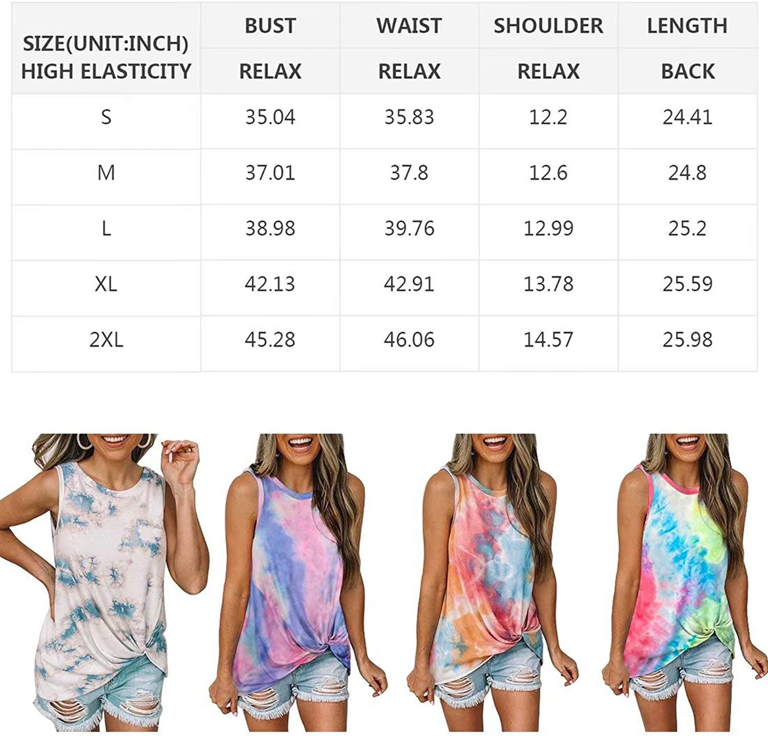 Biucly Womens Round Neck Tie-dye//Gradient Cami Tank Tops Casual Twist Loose Sleeveless Blouse Shirts