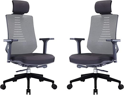Amazon Com Klasika Ergonomic Office Chair With Height Adjustable Back And Lumbar Support Swivel Fabric Seat For Computer Home Desk 2 Pack Kitchen Dining