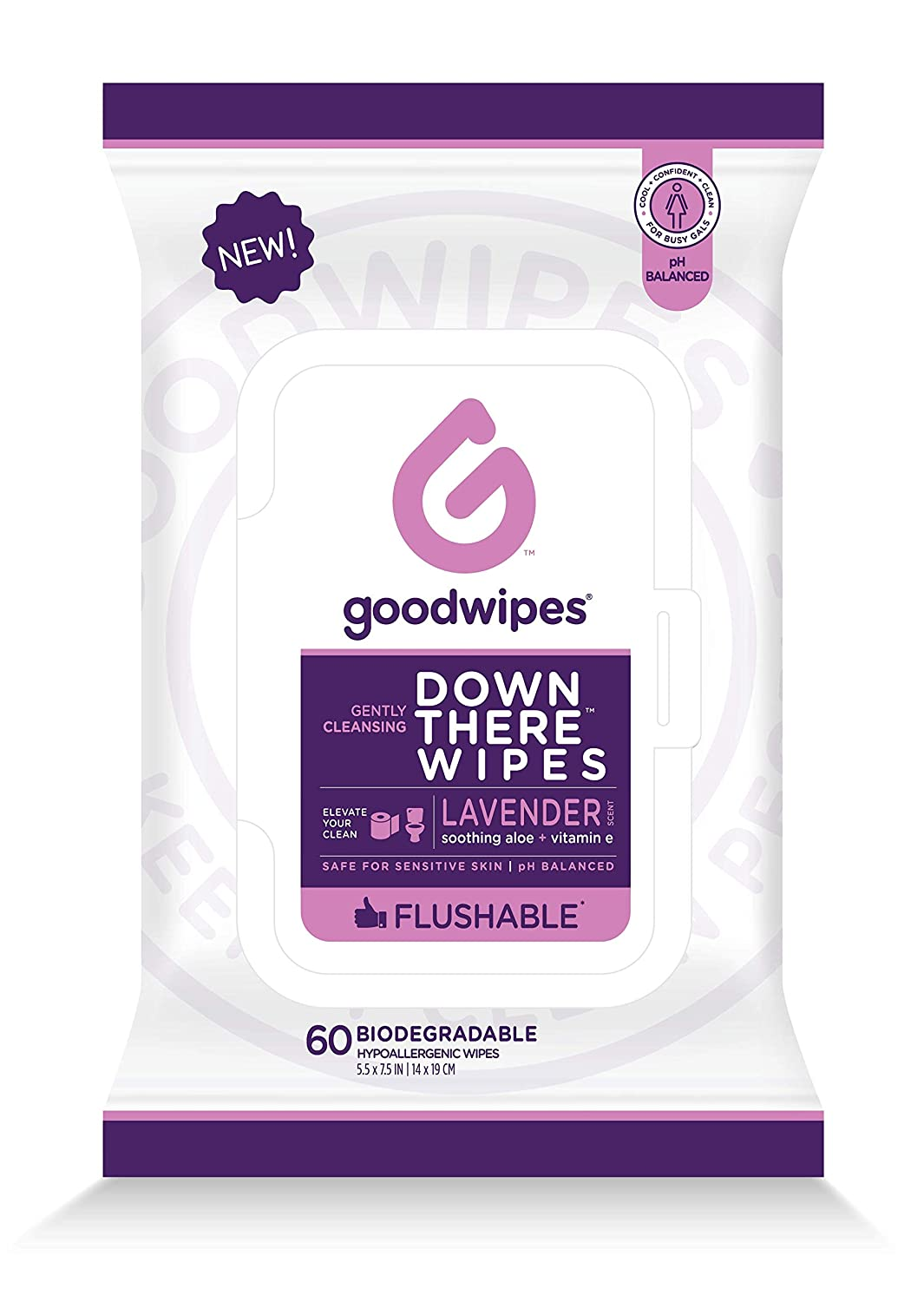 Goodwipes Down There Feminine Flushable Wet Wipes for Women, Lavender Scent, 60 Wipe Pack, 1 Count