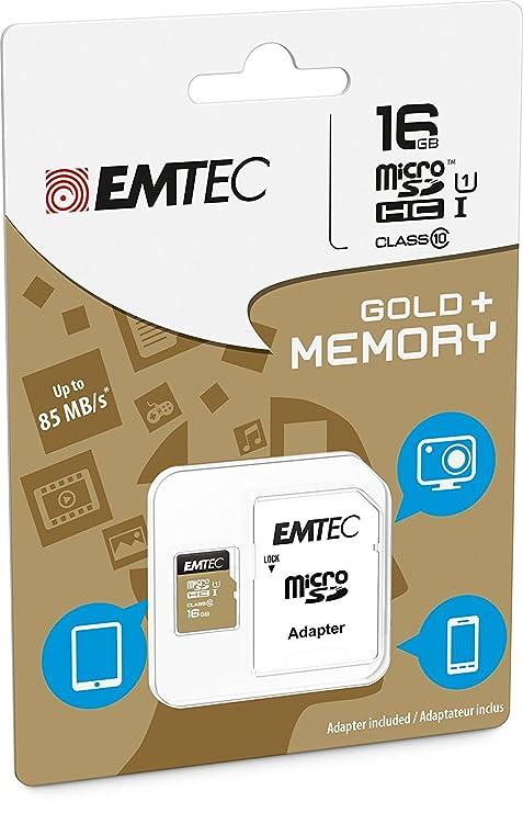 Tarjeta de memoria microSDHC 16 GB Class 10 con adaptador ...
