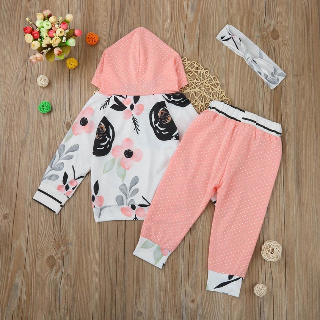 WARMSHOP Outfits Set Kids Clothes Floral Spot Hooded Tops+Pants+Headband 3pcs