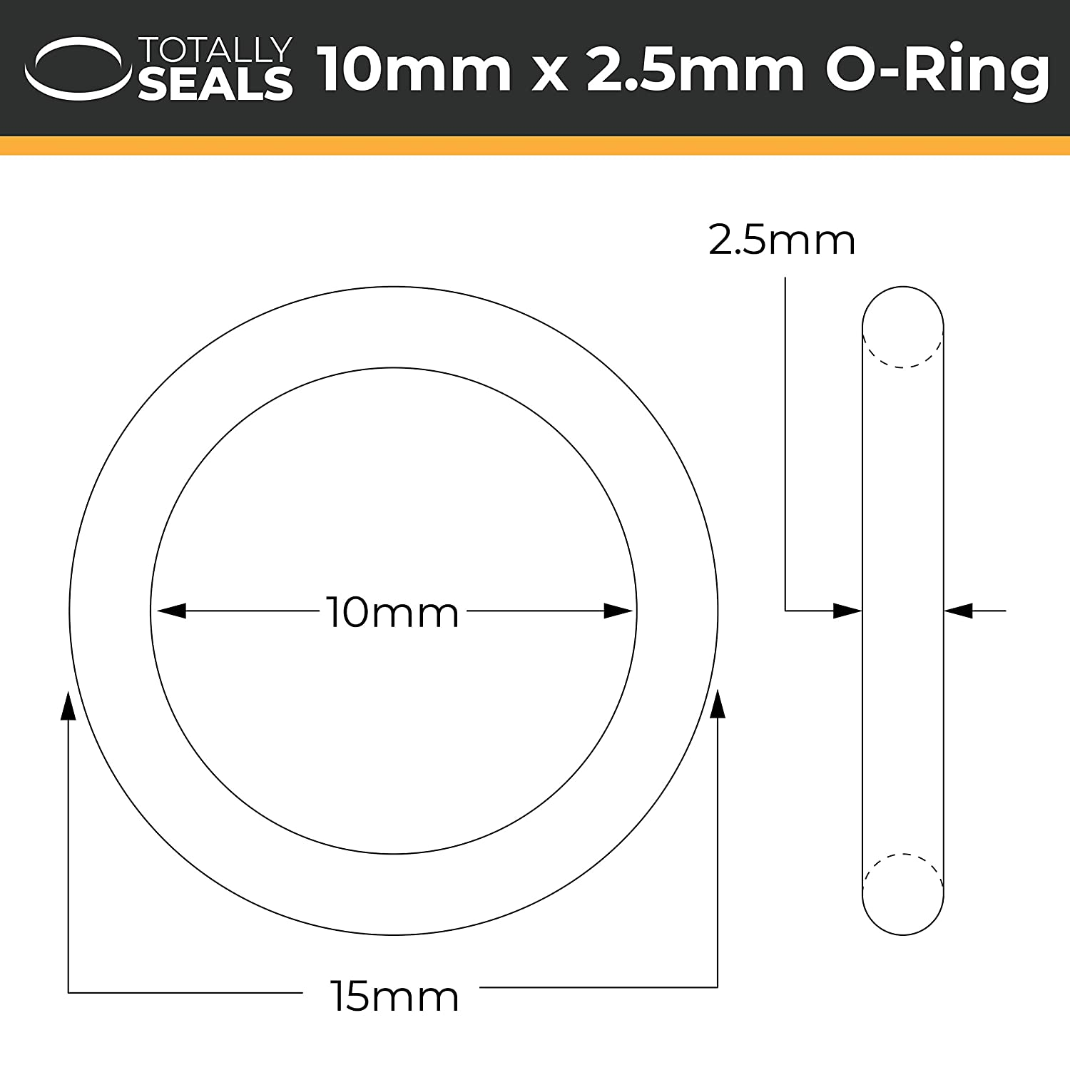Nitrile Rubber O-Rings 70A Shore Hardness Pack of 10 25mm x 3mm 31mm OD
