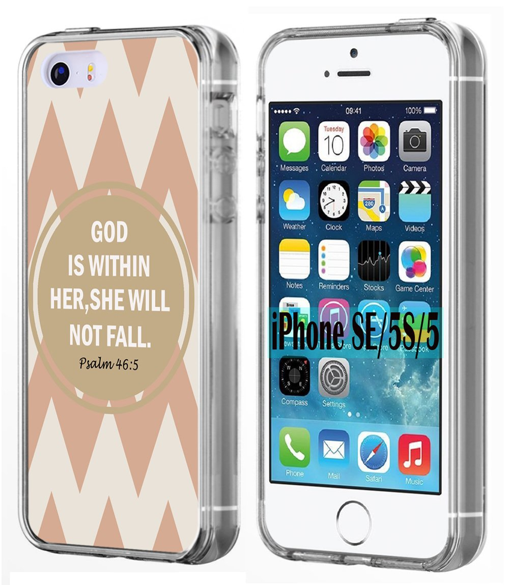 Amazon.com: SE Case Bible Verse,Ecute Soft Slim Flexible Clear Rubber Side + Style Hard Back Case for iPhone SE/5S/5 - God is Within Her,She Will Not Fall: ...