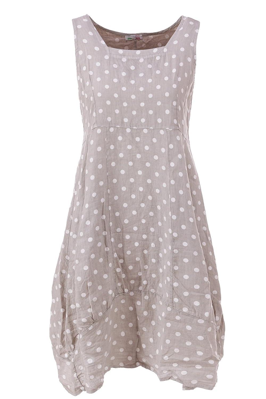 Leinenkleid mit Punkten ärmellos XXL (Größen 44 46 48 50) Sommerkleid gepunkted