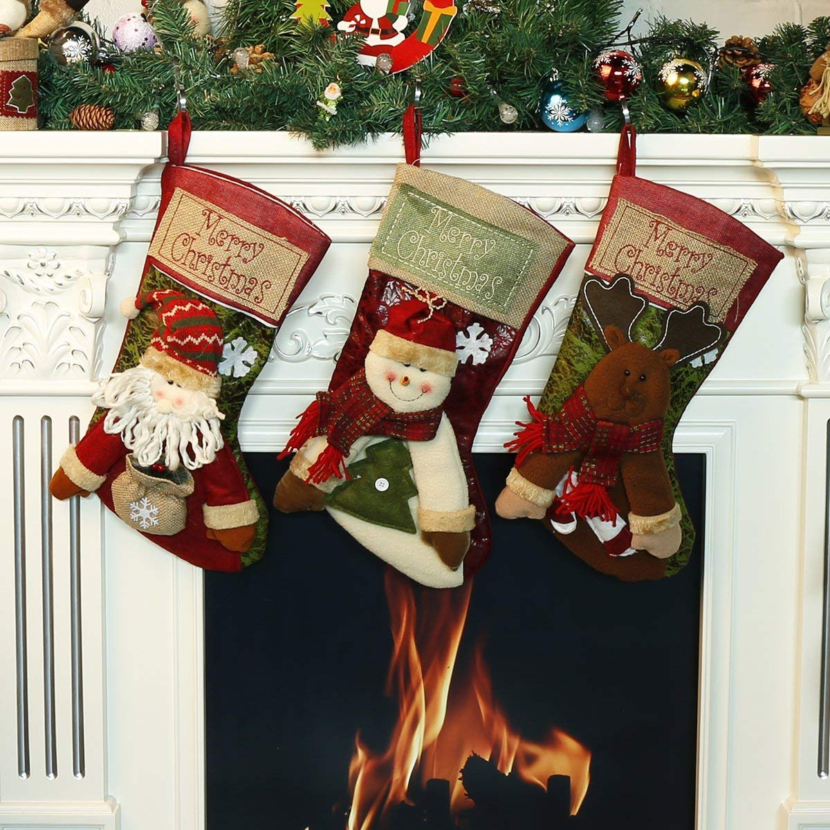 KAMLE Christmas Stockings 3Pcs Set Decoration,for Plush Linen Hanging Tag Santa, Snowman and Deer (Newest Style 18.3)