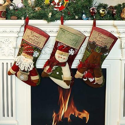 kamle christmas stockings 3pcs set decorationfor plush linen hanging tag santa snowman and - Amazon Christmas Stockings