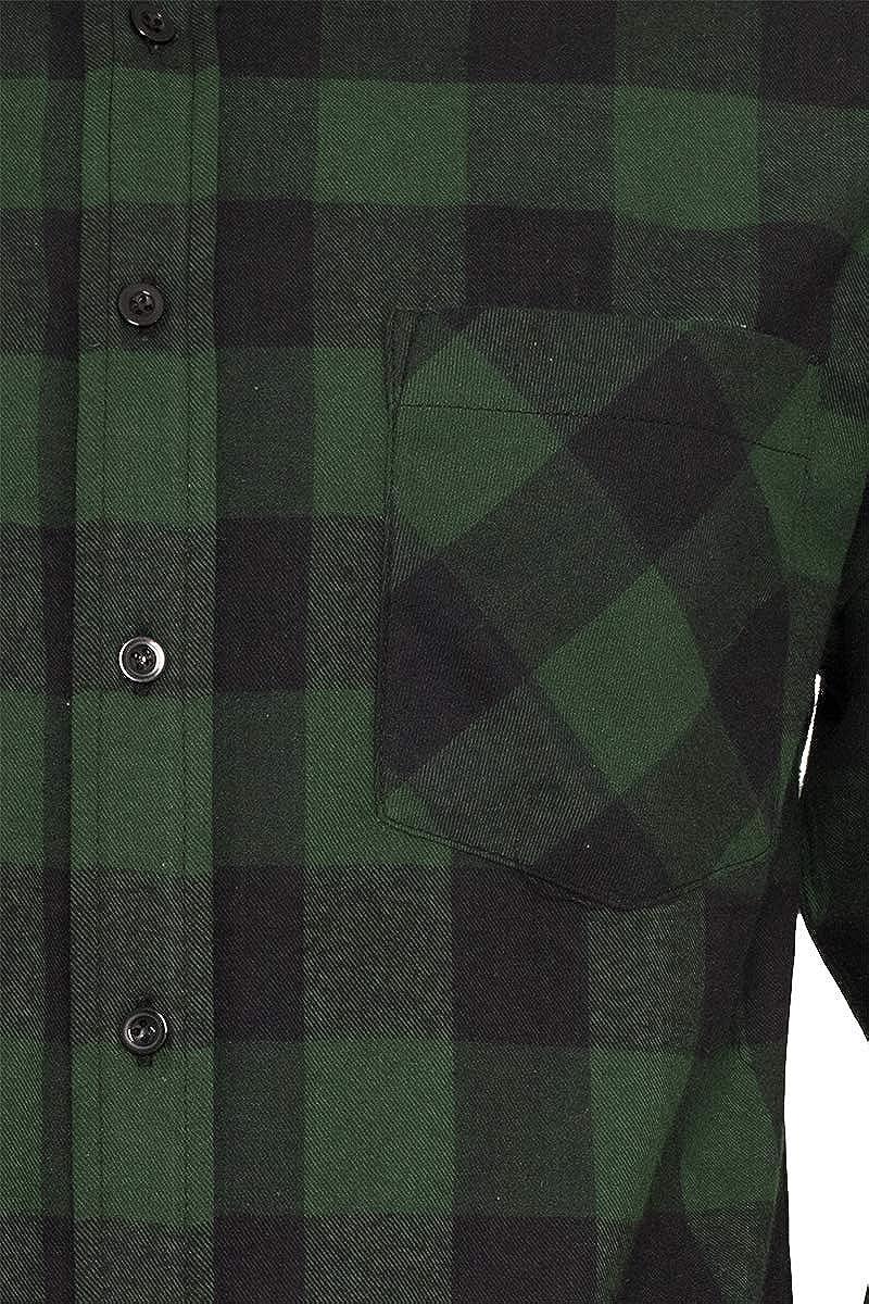 Urban Classics Camisa de Franela a Cuadros Hombre Camisa de Franela Negro/ Verde Oscuro, Regular: Amazon.es: Ropa y accesorios