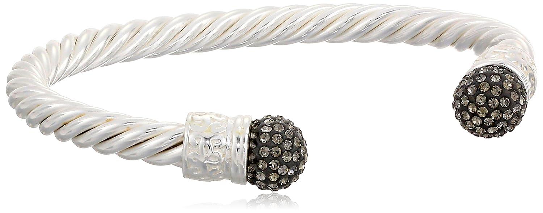 Sterling Silver Pave Crystal Sprayed Cuff Bracelet