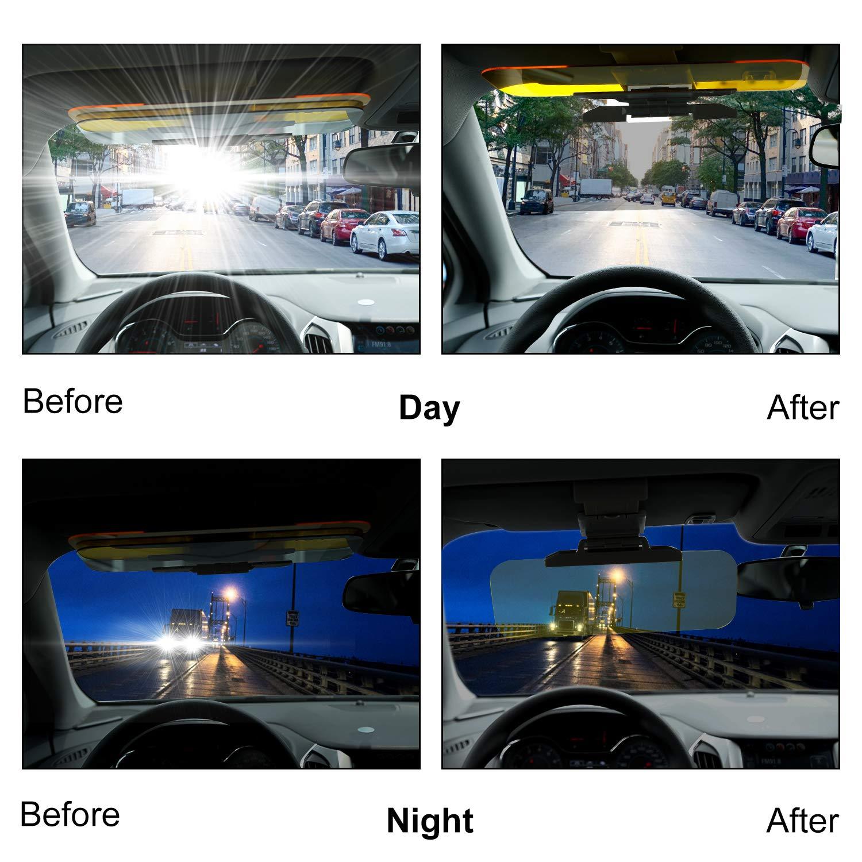 Yizen Extender Anti Glare Anti Dazzle Universal Car Visor,2 in 1 Anti Dazzle Car Sun Visor for Night and Day Universal Visor Extender for Eyesight Protecting,Sun Blocker Car Goggle with Car Cleanin