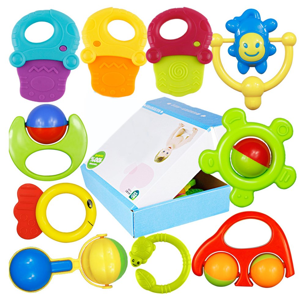 Baby Teether Toys and Rattlesおもちゃギフトセット/ 10 Piece Baby Rattle Toyギフトセット   B015K1DRKI