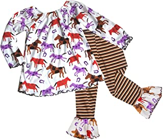 product image for Cheeky Banana Baby Toddler Girls Horse Print Top & Ruffle Leggings - Multi